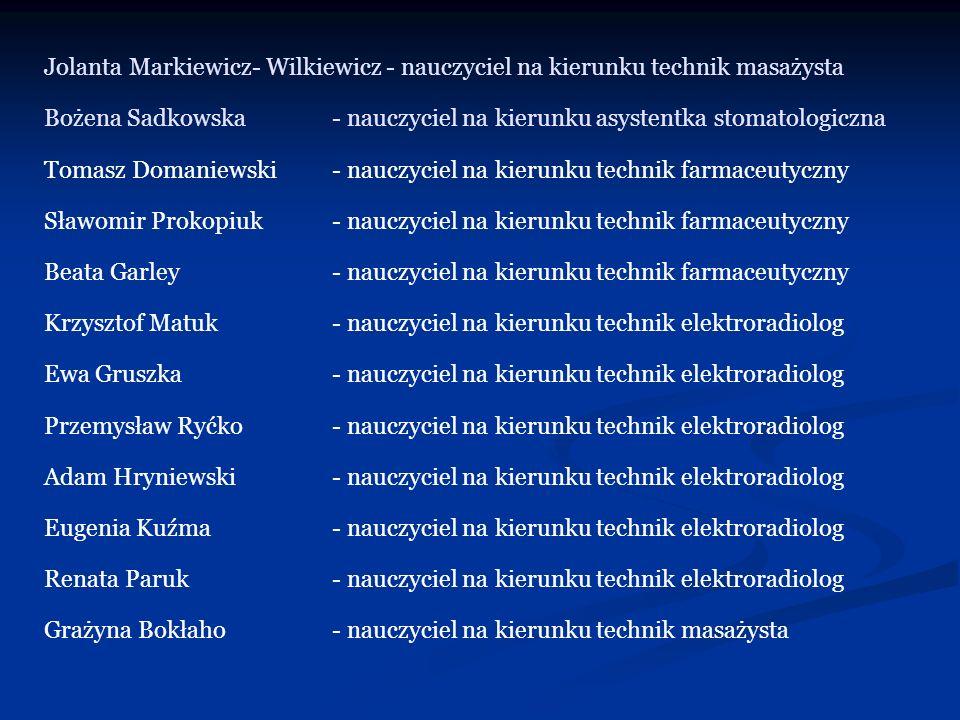 Jolanta Markiewicz- Wilkiewicz - nauczyciel na kierunku technik masażysta