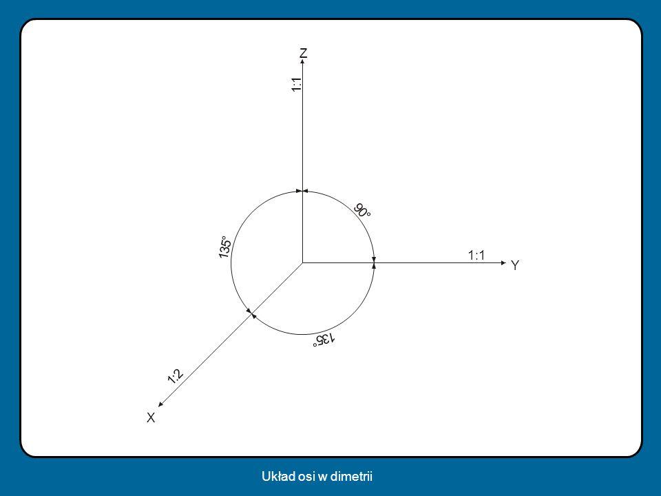 Z 1 : 1 9 ° ° 5 3 1 1:1 Y 5 3 1 ° : 2 1 X Układ osi w dimetrii