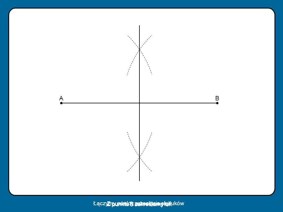 A B Łączymy punkty przecięcia się łuków Z punktu B zakreślamy łuk