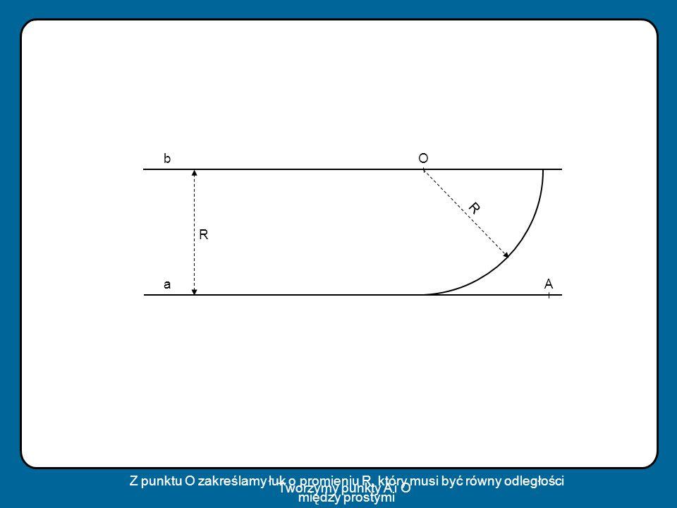 b O. R. R. a. A. Z punktu O zakreślamy łuk o promieniu R, który musi być równy odległości między prostymi.