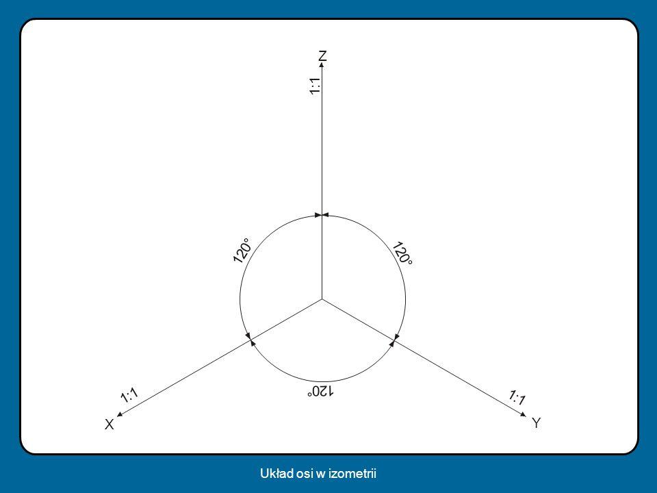 1 : 2 ° Z Y X Układ osi w izometrii