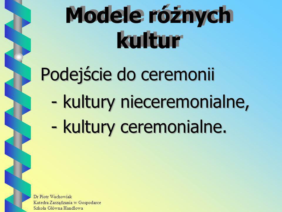 Modele różnych kultur Podejście do ceremonii