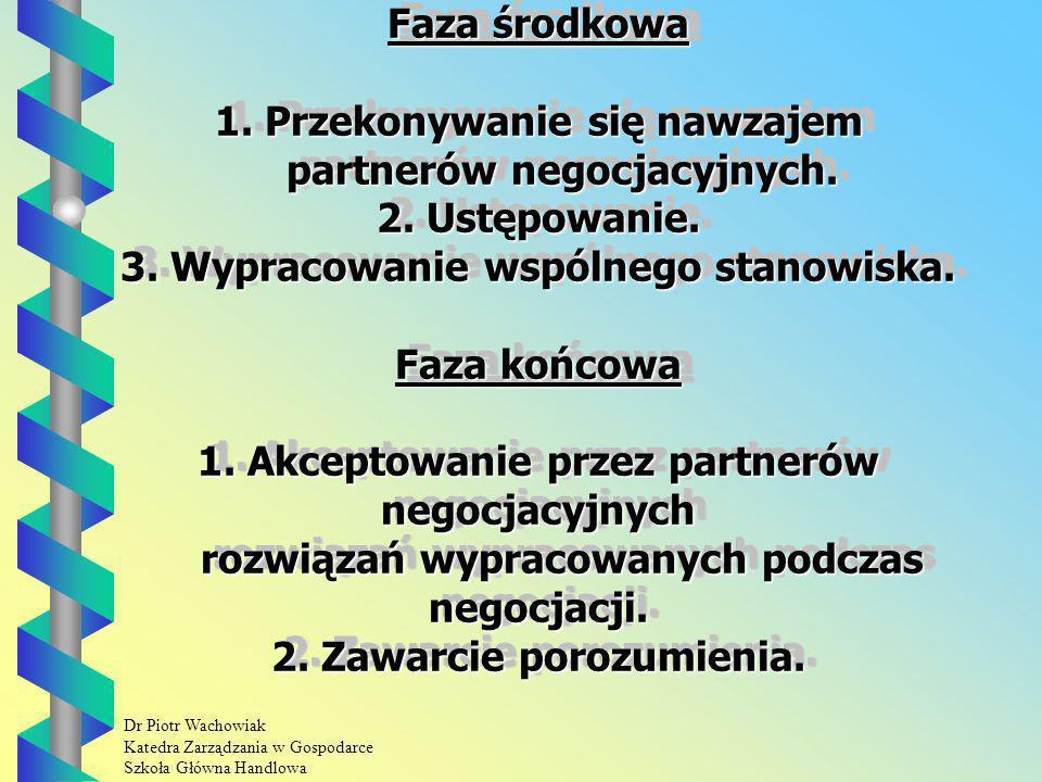 Faza środkowa 1. Przekonywanie się nawzajem partnerów negocjacyjnych.