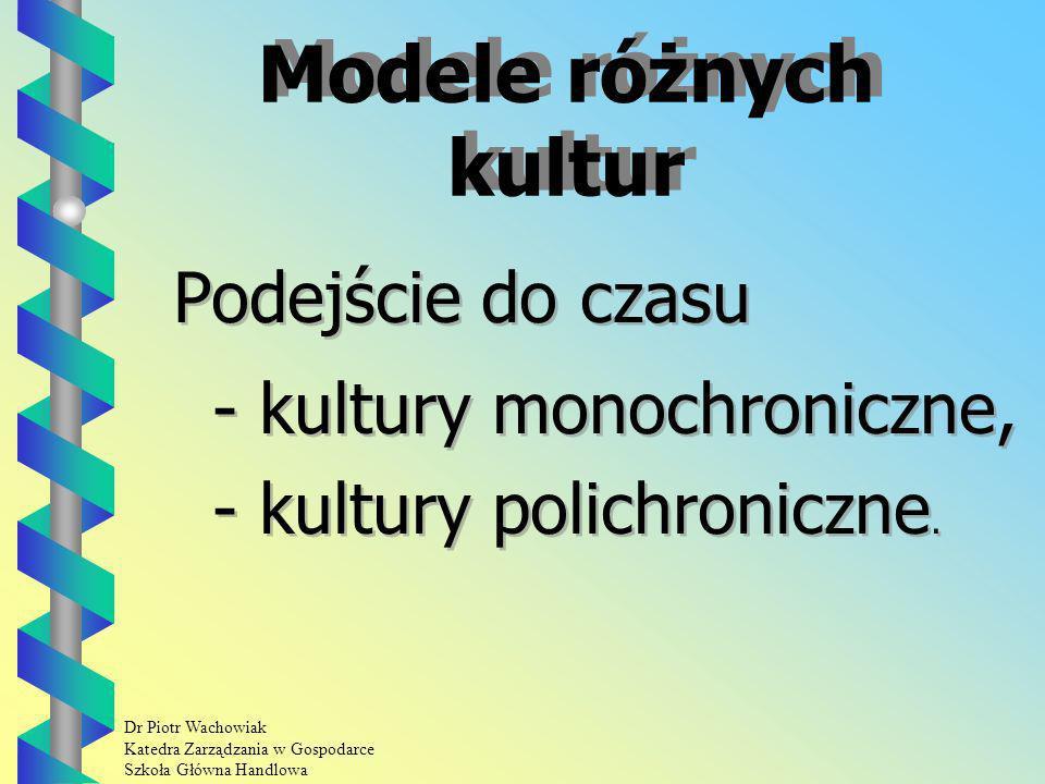 Modele różnych kultur Podejście do czasu - kultury monochroniczne,