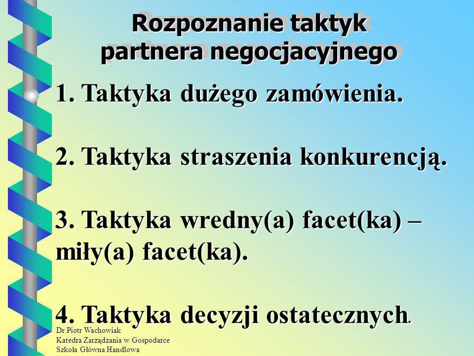 Rozpoznanie taktyk partnera negocjacyjnego
