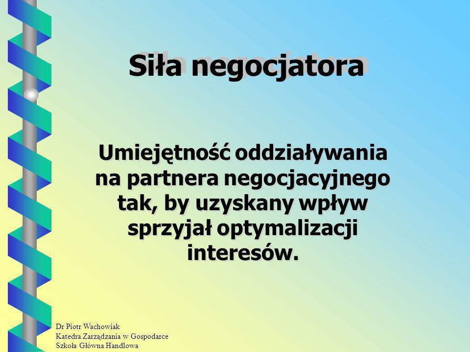 Siła negocjatora Umiejętność oddziaływania na partnera negocjacyjnego tak, by uzyskany wpływ sprzyjał optymalizacji interesów.