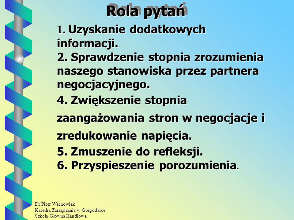 Rola pytań 1. Uzyskanie dodatkowych informacji.