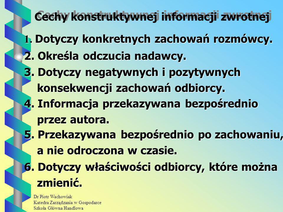Cechy konstruktywnej informacji zwrotnej