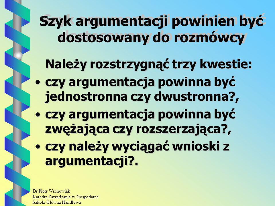 Szyk argumentacji powinien być dostosowany do rozmówcy