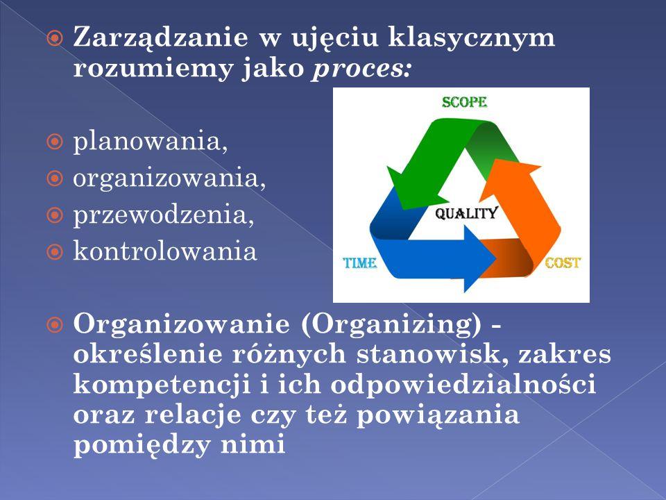 Zarządzanie w ujęciu klasycznym rozumiemy jako proces: