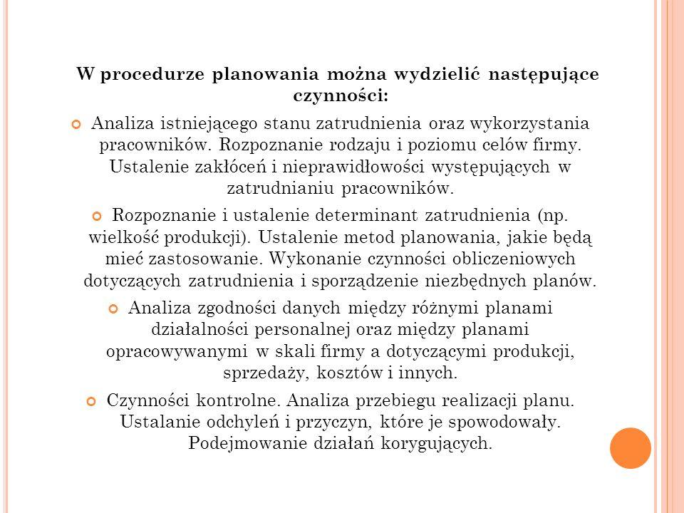 W procedurze planowania można wydzielić następujące czynności: