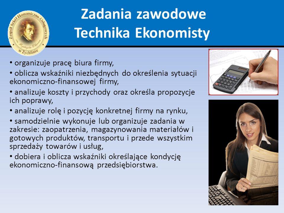 Zadania zawodowe Technika Ekonomisty