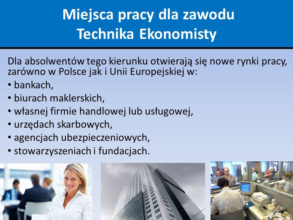 Miejsca pracy dla zawodu Technika Ekonomisty