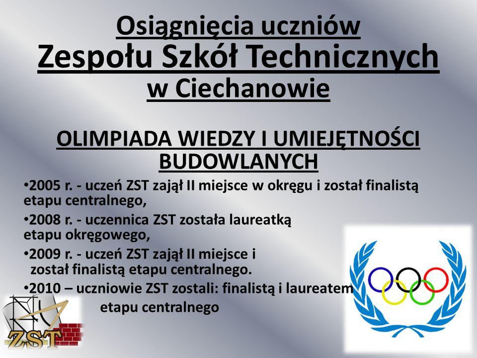 Osiągnięcia uczniów Zespołu Szkół Technicznych w Ciechanowie