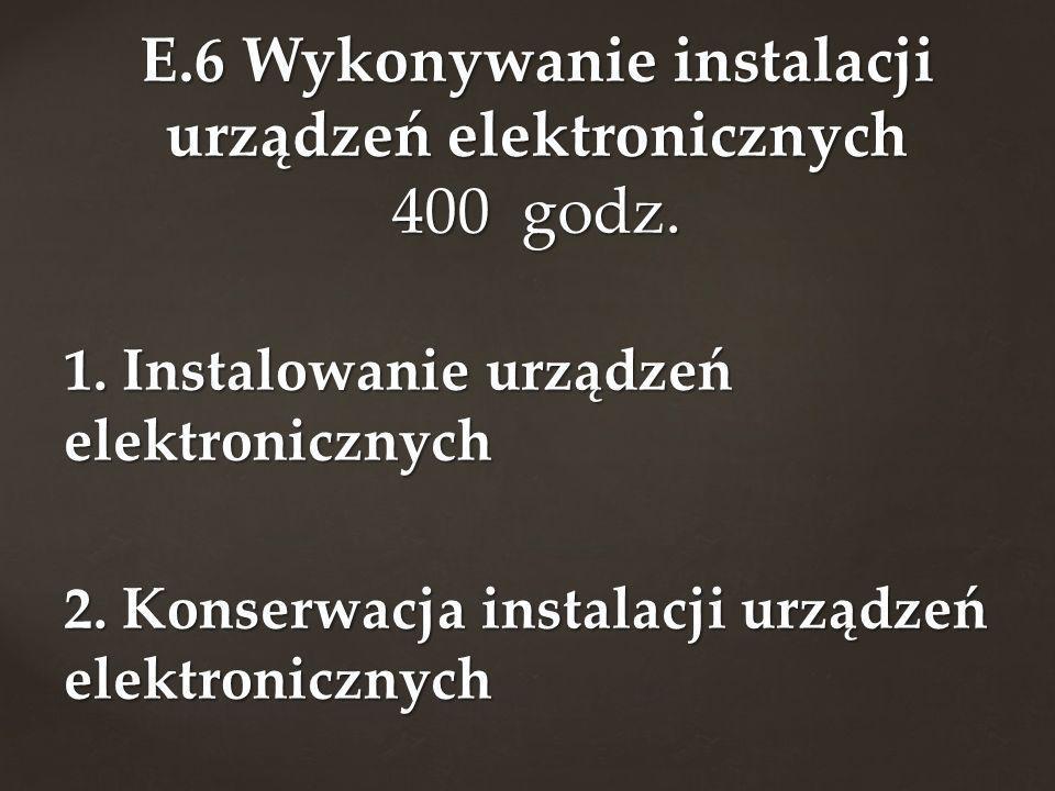 E.6 Wykonywanie instalacji urządzeń elektronicznych 400 godz.
