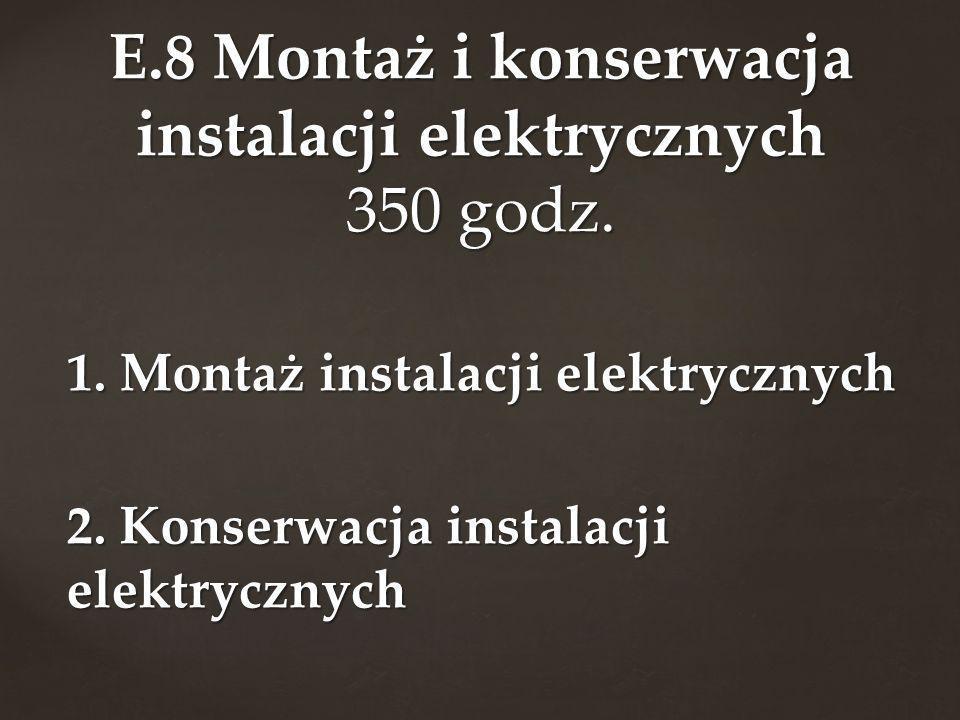 E.8 Montaż i konserwacja instalacji elektrycznych 350 godz.