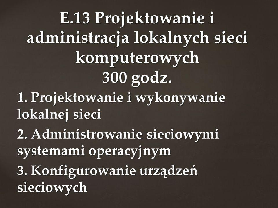E.13 Projektowanie i administracja lokalnych sieci komputerowych 300 godz.