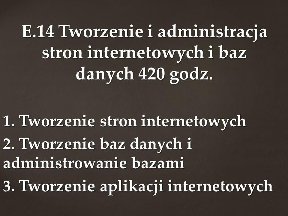E.14 Tworzenie i administracja stron internetowych i baz danych 420 godz.
