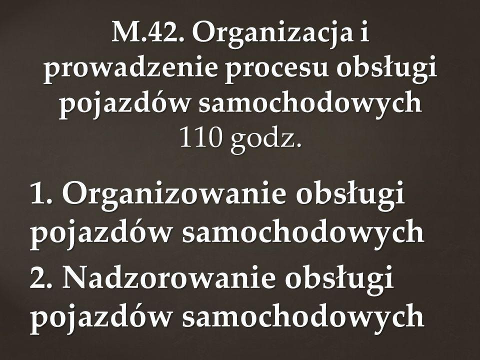 M.42. Organizacja i prowadzenie procesu obsługi pojazdów samochodowych 110 godz.