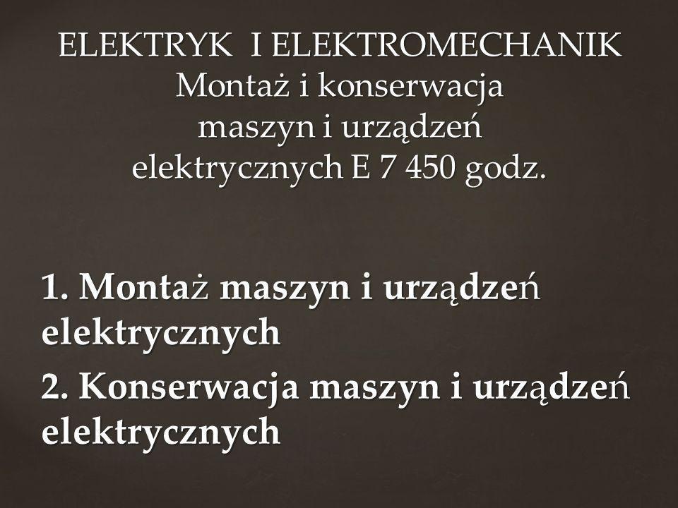 ELEKTRYK I ELEKTROMECHANIK Montaż i konserwacja maszyn i urządzeń elektrycznych E 7 450 godz.