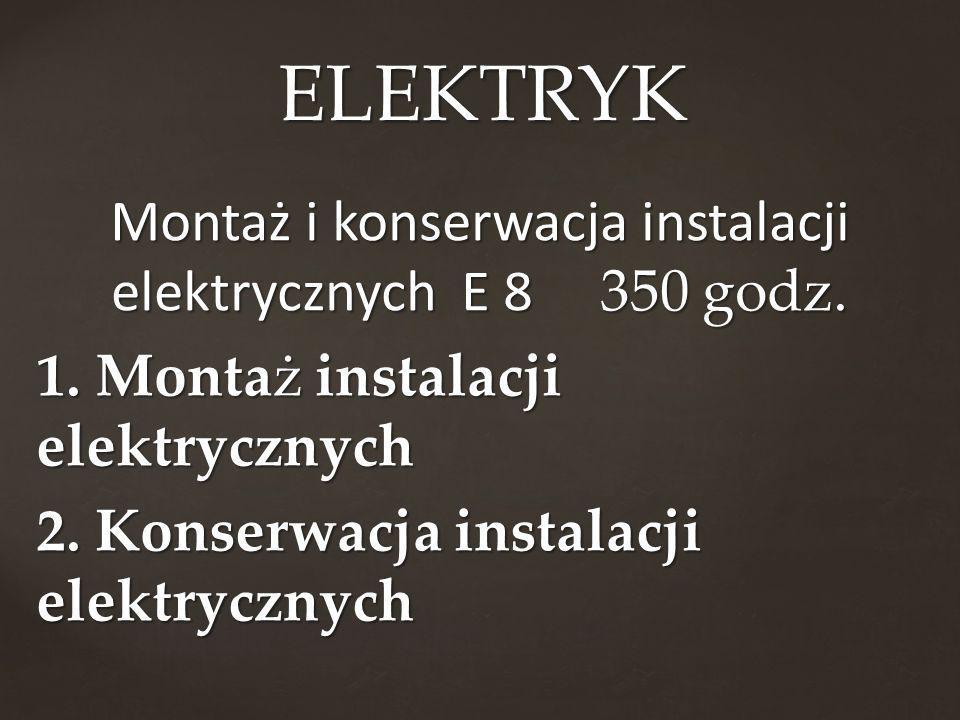 ELEKTRYK Montaż i konserwacja instalacji elektrycznych E 8 350 godz.