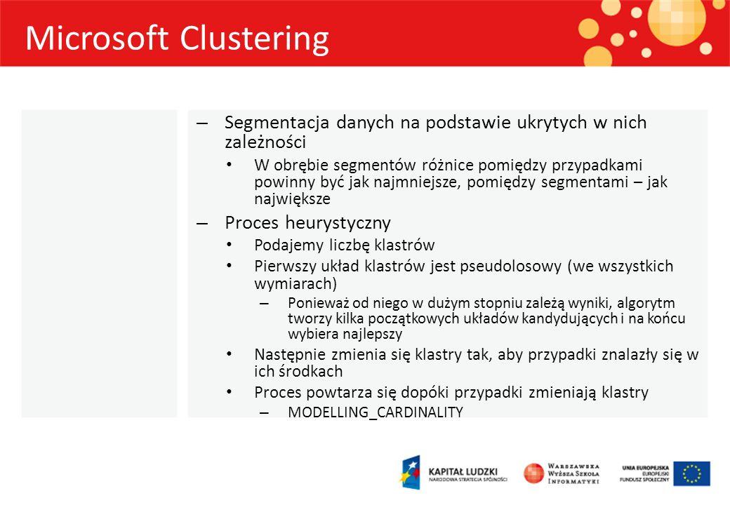 Microsoft Clustering Segmentacja danych na podstawie ukrytych w nich zależności.