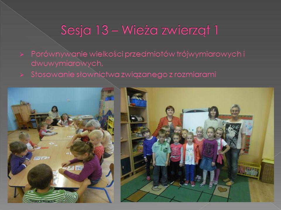 Sesja 13 – Wieża zwierząt 1 Porównywanie wielkości przedmiotów trójwymiarowych i dwuwymiarowych, Stosowanie słownictwa związanego z rozmiarami.