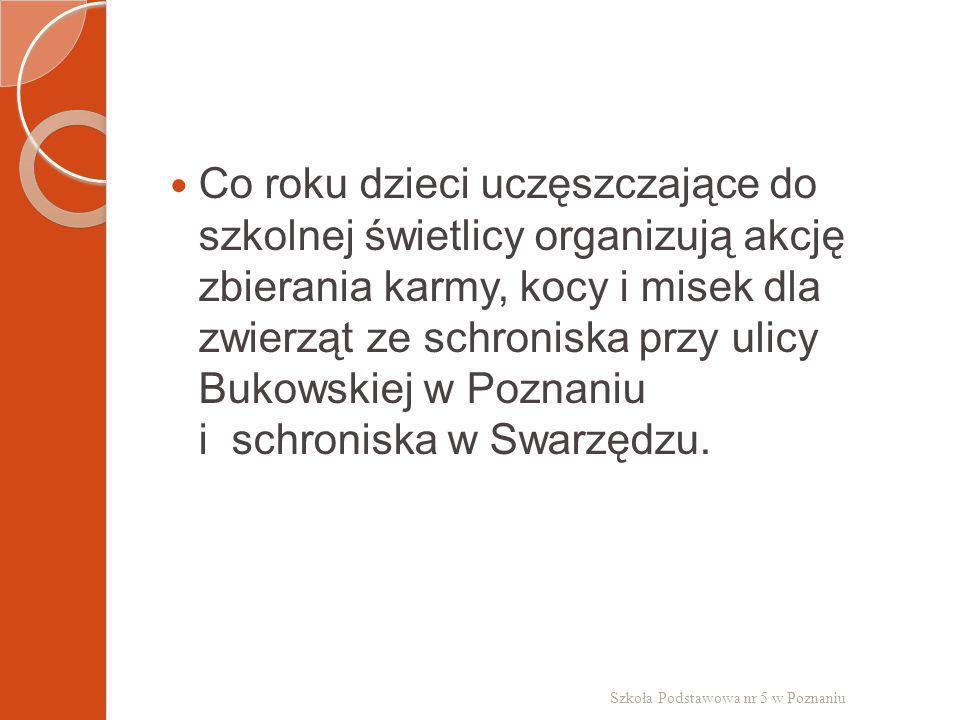 Co roku dzieci uczęszczające do szkolnej świetlicy organizują akcję zbierania karmy, kocy i misek dla zwierząt ze schroniska przy ulicy Bukowskiej w Poznaniu i schroniska w Swarzędzu.