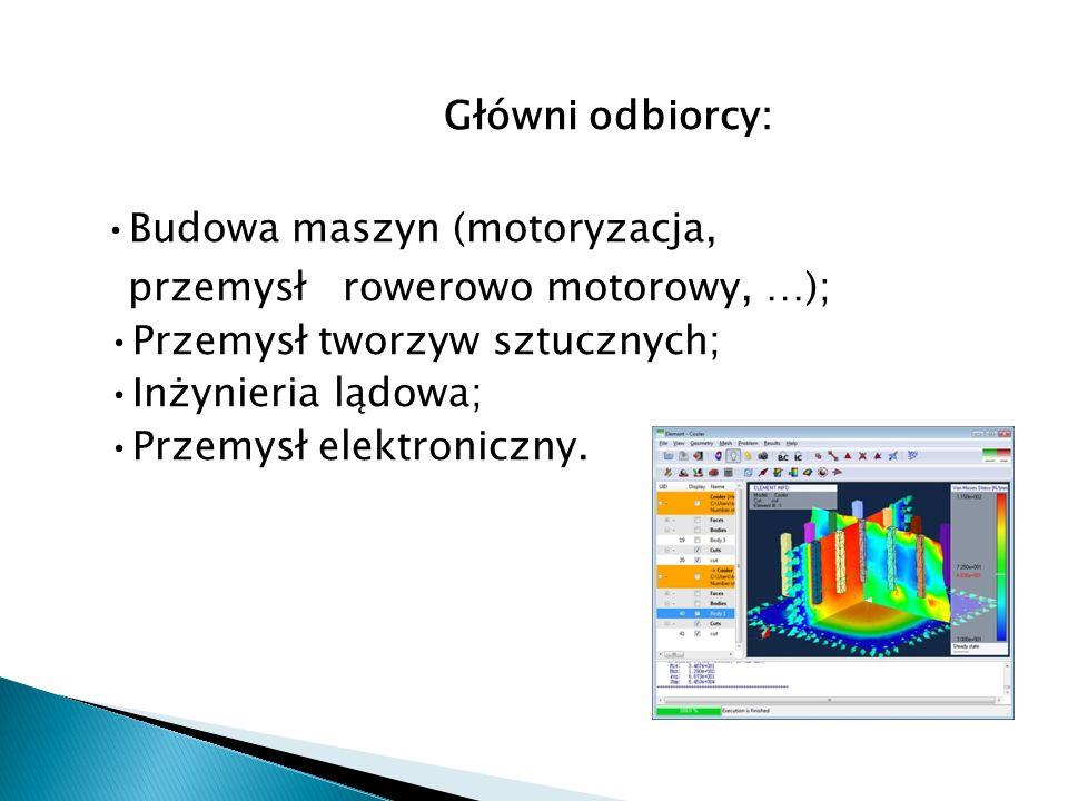 Główni odbiorcy: •Budowa maszyn (motoryzacja, przemysł rowerowo motorowy, …); •Przemysł tworzyw sztucznych; •Inżynieria lądowa; •Przemysł elektroniczny.