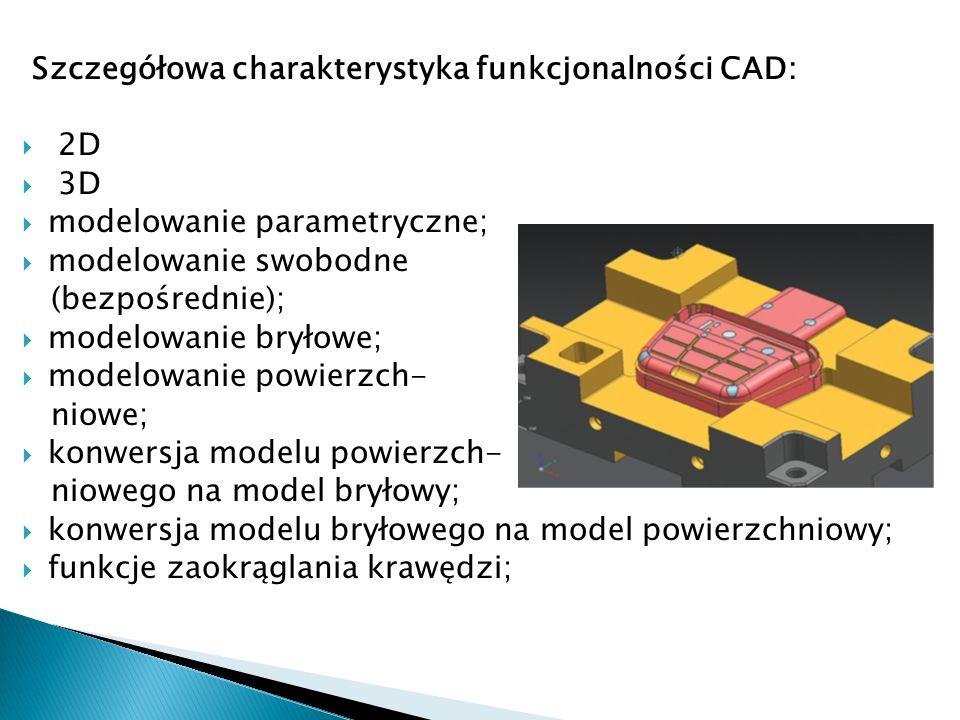 Szczegółowa charakterystyka funkcjonalności CAD: