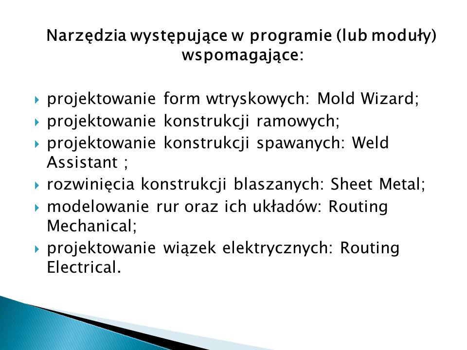 Narzędzia występujące w programie (lub moduły) wspomagające: