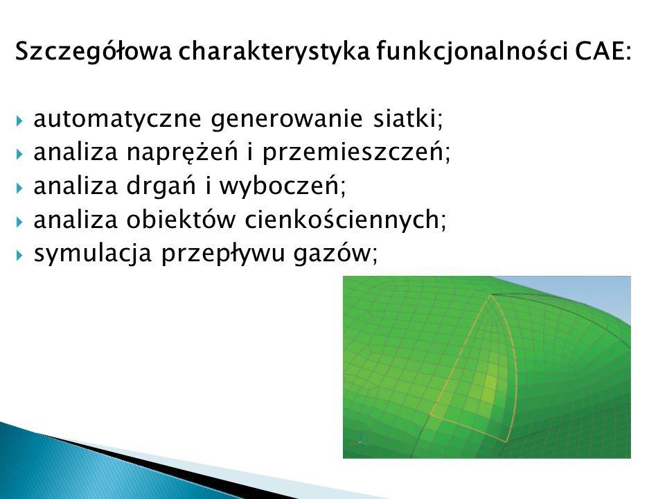 Szczegółowa charakterystyka funkcjonalności CAE: