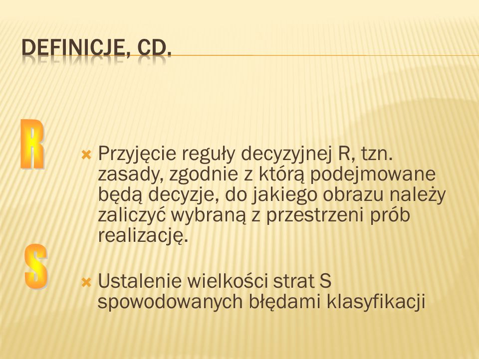 Definicje, cd. R.