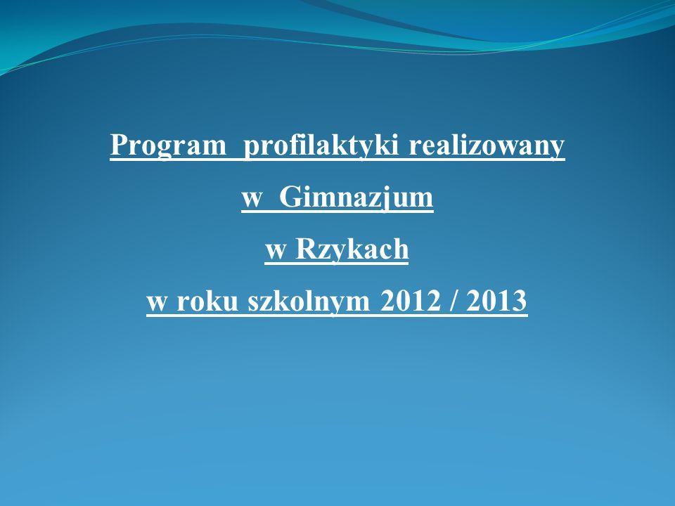 Program profilaktyki realizowany w Gimnazjum w Rzykach w roku szkolnym 2012 / 2013