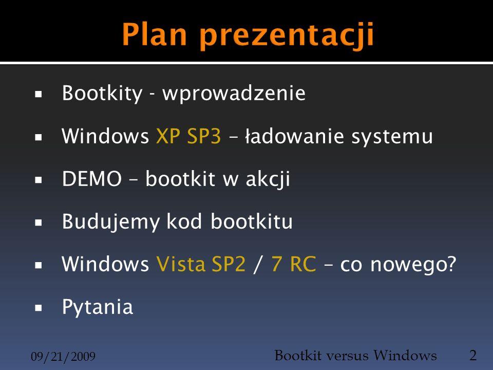 Plan prezentacji Bootkity - wprowadzenie