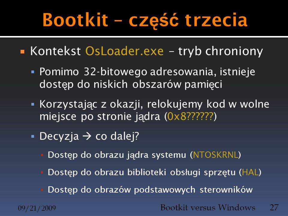 Bootkit – część trzecia
