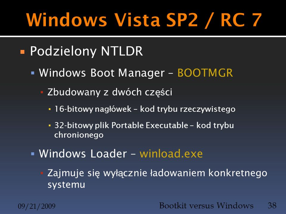 Windows Vista SP2 / RC 7 Podzielony NTLDR