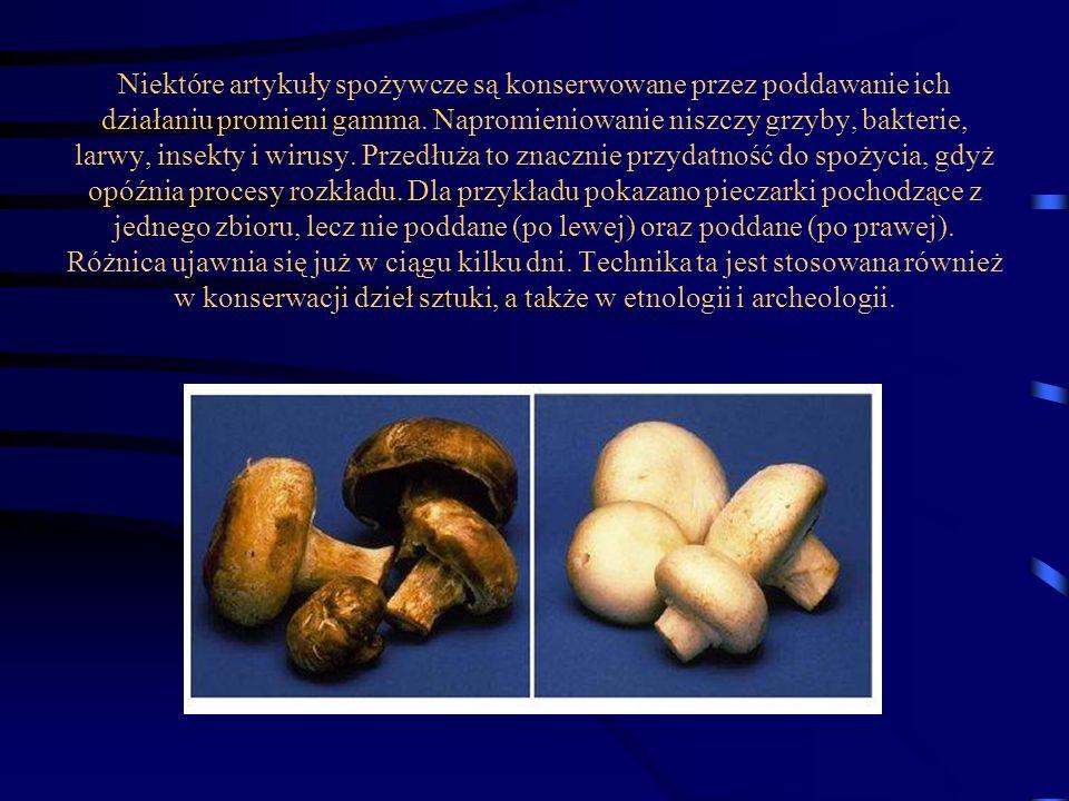 Niektóre artykuły spożywcze są konserwowane przez poddawanie ich działaniu promieni gamma.