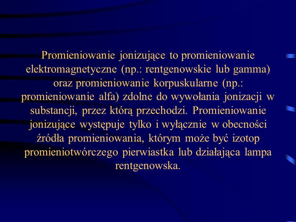 Promieniowanie jonizujące to promieniowanie elektromagnetyczne (np