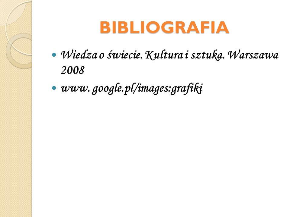 BIBLIOGRAFIA Wiedza o świecie. Kultura i sztuka. Warszawa 2008