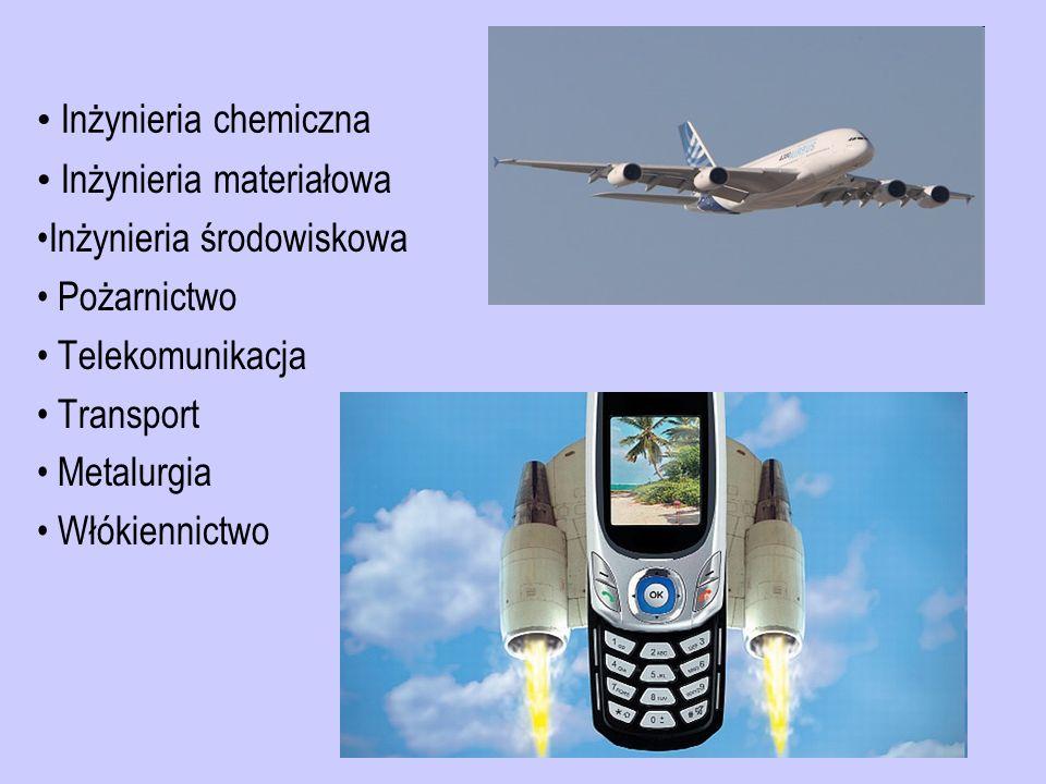 Inżynieria chemiczna Inżynieria materiałowa. Inżynieria środowiskowa. Pożarnictwo. Telekomunikacja.