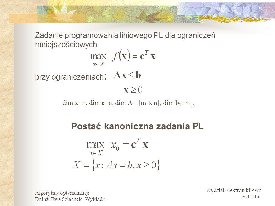Zadanie programowania liniowego PL dla ograniczeń mniejszościowych