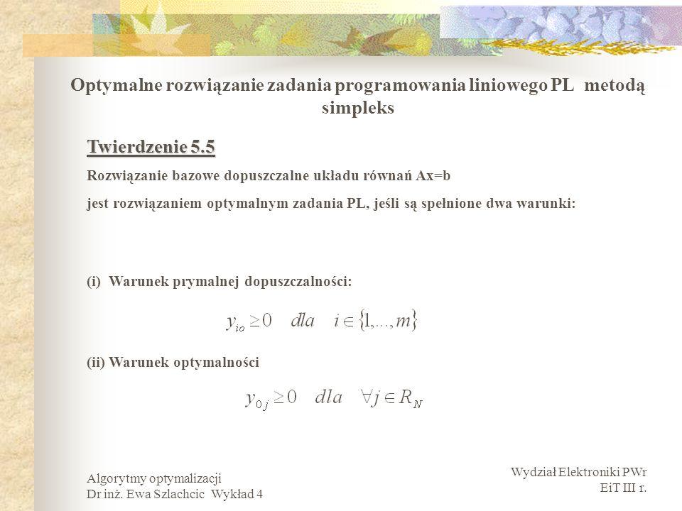 Optymalne rozwiązanie zadania programowania liniowego PL metodą simpleks