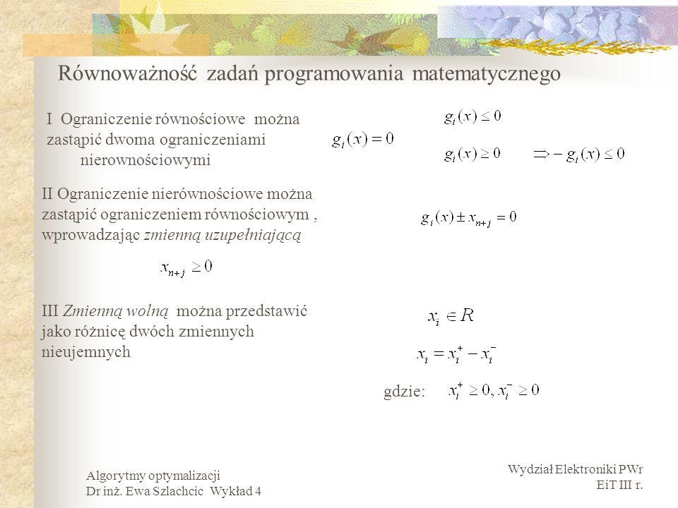 Równoważność zadań programowania matematycznego