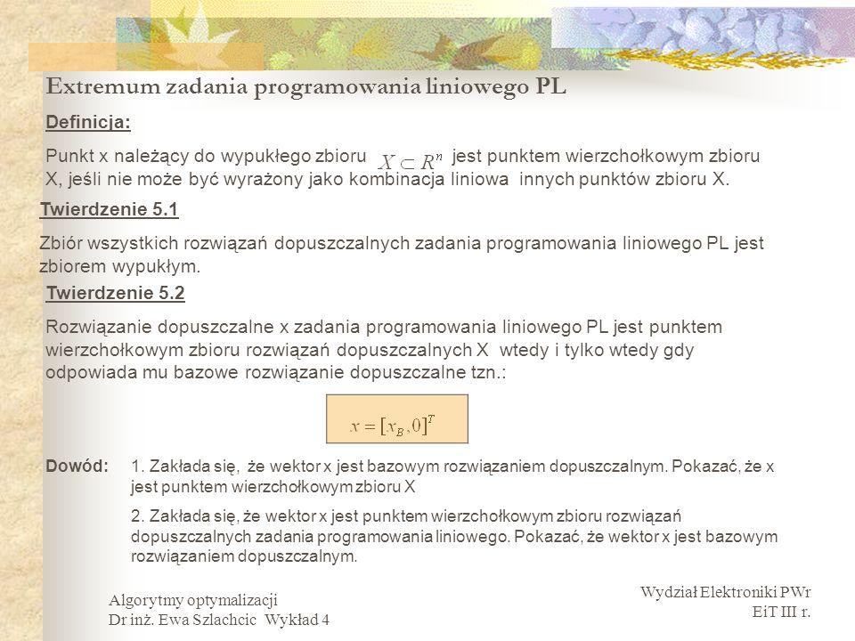 Extremum zadania programowania liniowego PL