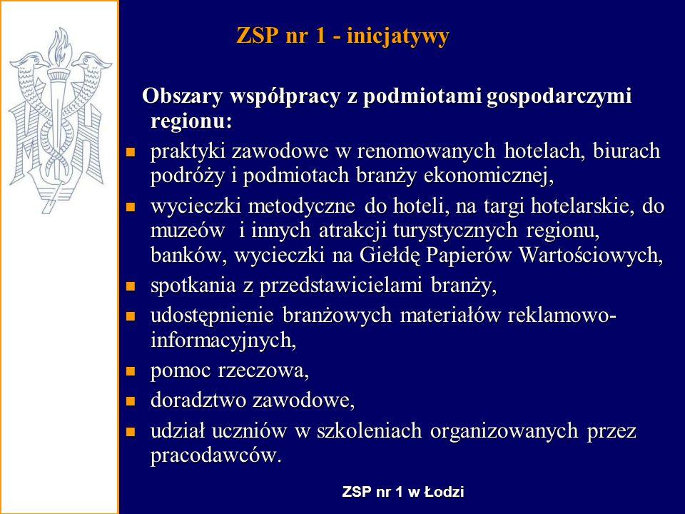 ZSP nr 1 - inicjatywy Obszary współpracy z podmiotami gospodarczymi regionu: