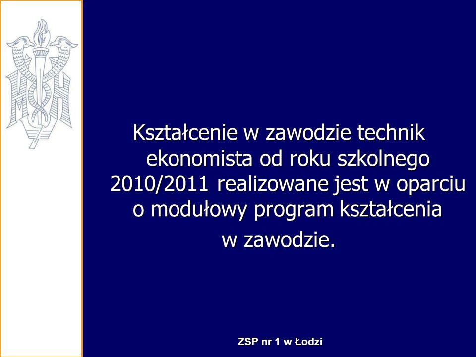 Kształcenie w zawodzie technik ekonomista od roku szkolnego 2010/2011 realizowane jest w oparciu o modułowy program kształcenia
