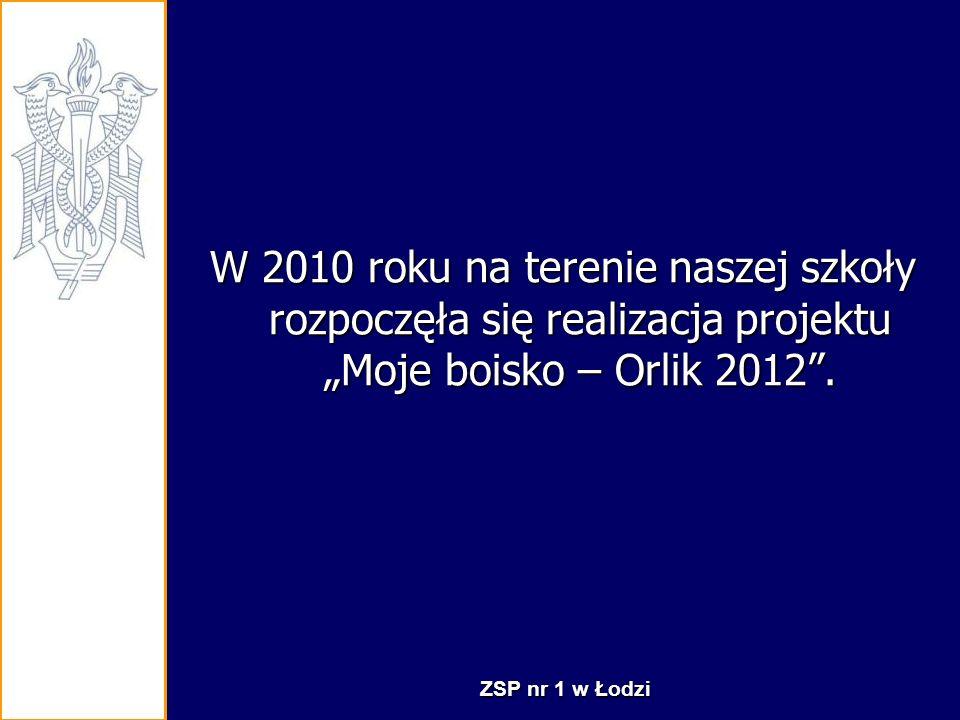 """W 2010 roku na terenie naszej szkoły rozpoczęła się realizacja projektu """"Moje boisko – Orlik 2012 ."""