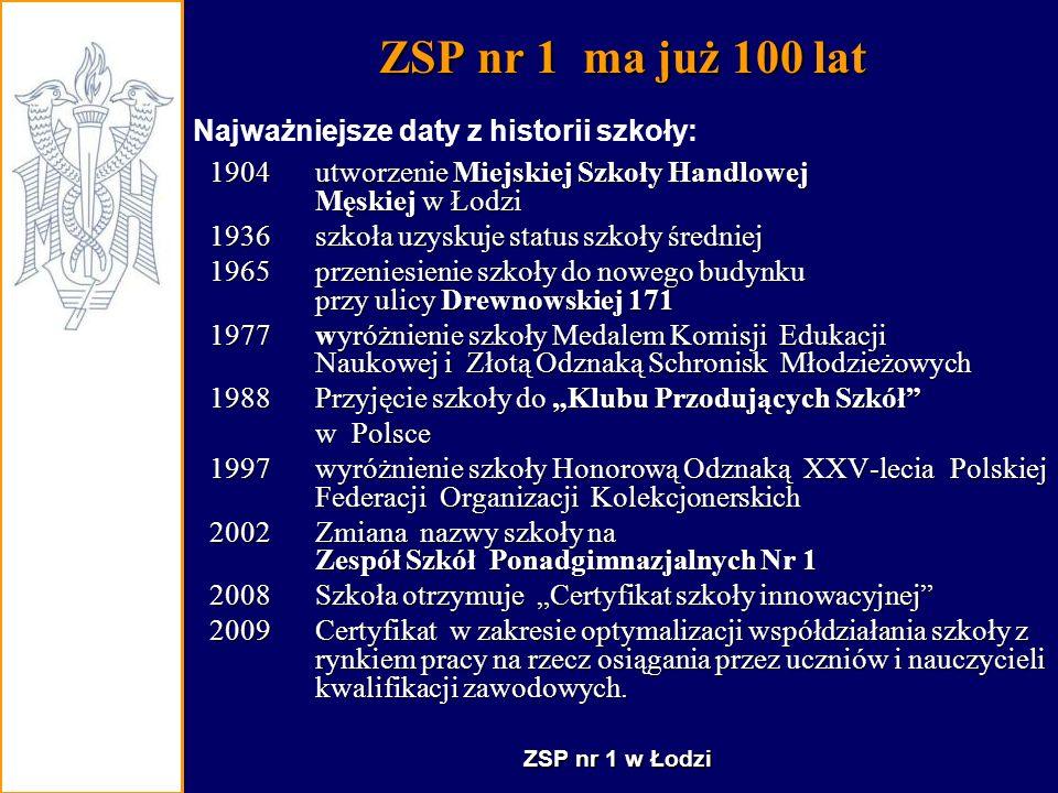 ZSP nr 1 ma już 100 lat Najważniejsze daty z historii szkoły: