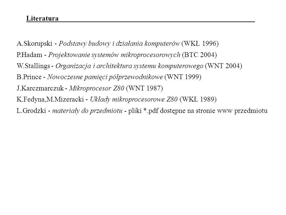 Literatura A.Skorupski - Podstawy budowy i działania komputerów (WKŁ 1996) P.Hadam - Projektowanie systemów mikroprocesorowych (BTC 2004)